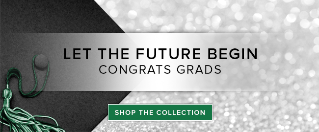 Sparkling background with picture of graduation cap and tassel. Let the future begin. Congrats Grads. Click to shop the collection.
